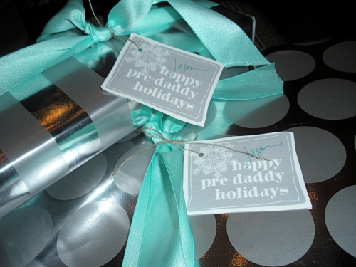 "Our last Christmas as a couple - I thought that ""happy pre-daddy holidays"" was the perfect sentiment for Jason's gift tags"