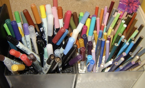 I still love my markers, pens and pencils.