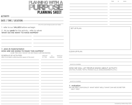 Planning With a Purpose Planning Sheet