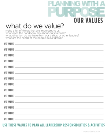 Planning with a Purpose Values Sheet